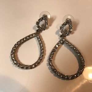Rhinestone teardrop pierced dangle earrings